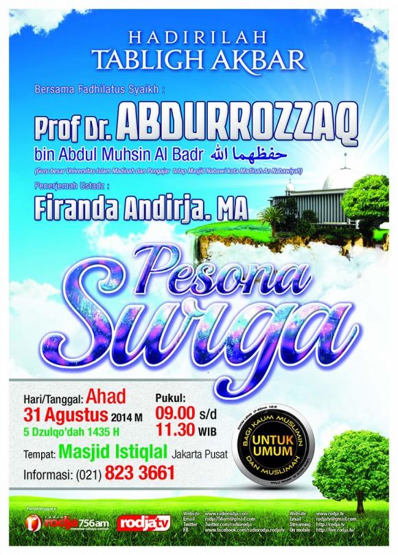 "Tabligh Akbar: Syaikh Prof. Dr. Abdurrazzaq bin Abdil Muhsin Al-Badr - ""Pesona Surga"" pada 31 Agustus 2014 di Masjid Istiqlal Jakarta"
