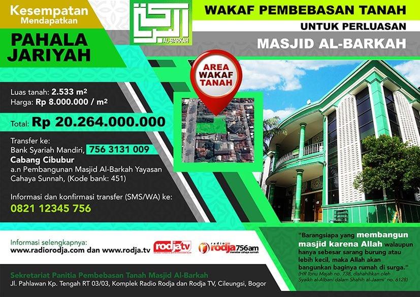 Informasi: Wakaf Pembebasan Tanah untuk Perluasan Masjid Al-Barkah Cileungsi 1439 H (Selebaran - Preview)