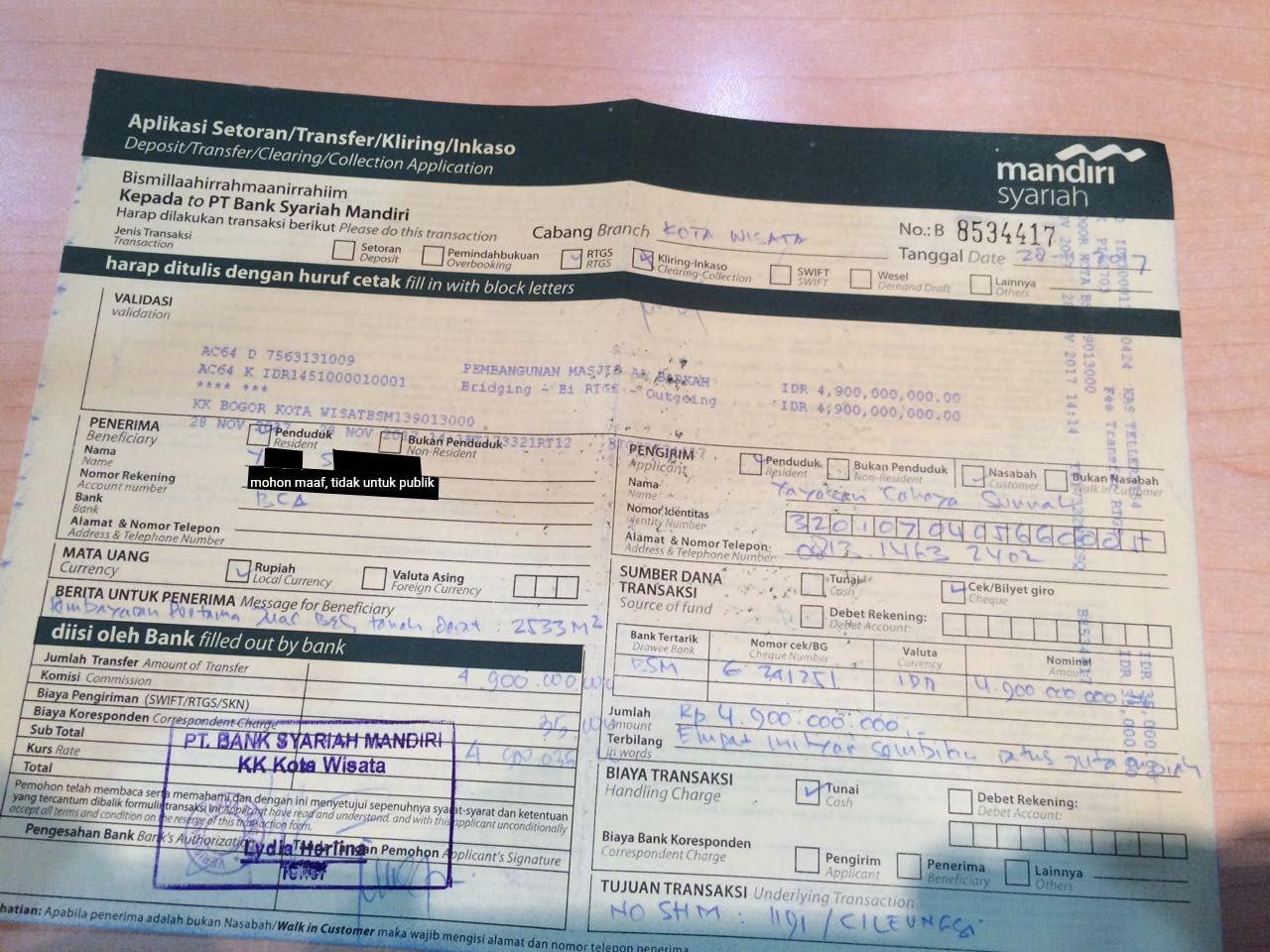 Laporan Wakaf Al-Barkah 17-24 November 2017: Pembayaran Tahap Pertama